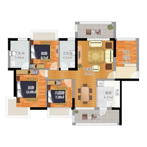 大欣城3室2厅2卫1厨112.00㎡户型图