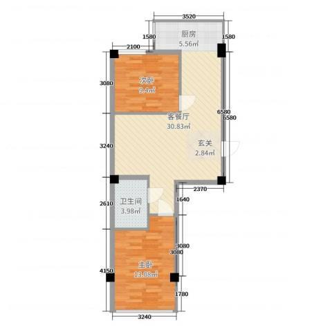 金山翰林苑2室2厅1卫0厨75.00㎡户型图