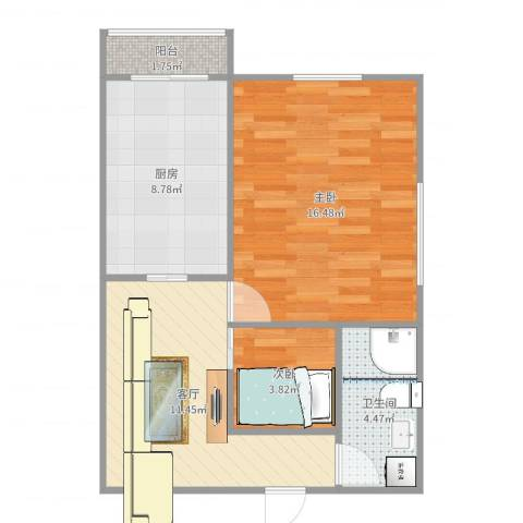 孚泰公寓2室1厅1卫1厨58.00㎡户型图