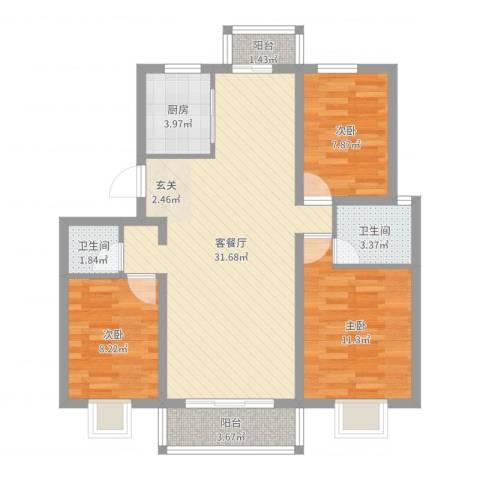 南苑小区3室2厅2卫1厨92.00㎡户型图
