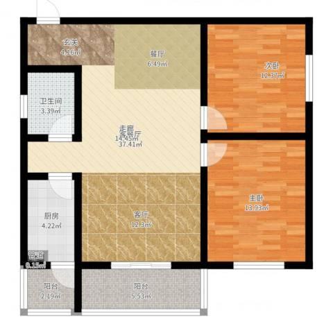 滨河御园2室2厅1卫1厨99.00㎡户型图