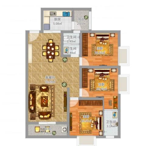 领峰国际广场3室2厅3卫1厨104.00㎡户型图
