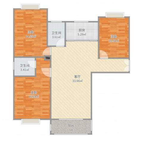 荷馨苑3室1厅3卫1厨116.00㎡户型图