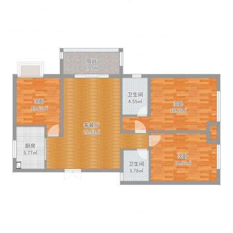 淮安人家3室2厅2卫1厨118.00㎡户型图
