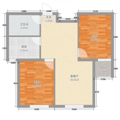 郁金台2室2厅1卫1厨62.47㎡户型图