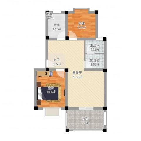 帝豪・星港湾2室2厅1卫1厨72.00㎡户型图