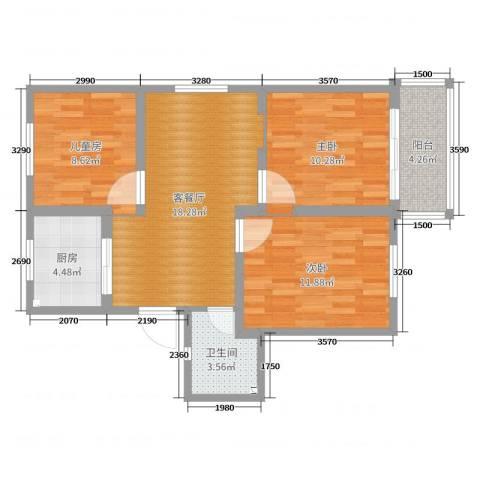 宁波市海曙区镇明小区3室2厅1卫1厨77.00㎡户型图