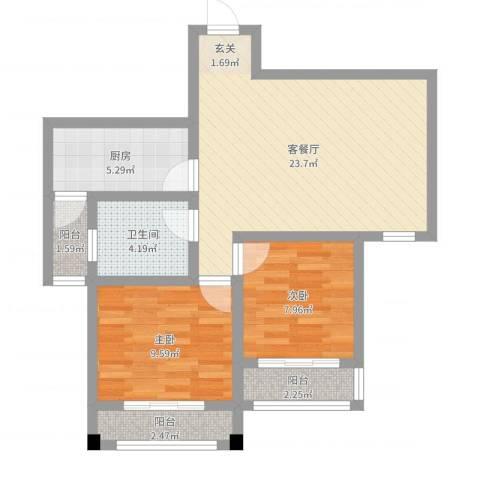 和谐家园2室2厅1卫1厨71.00㎡户型图