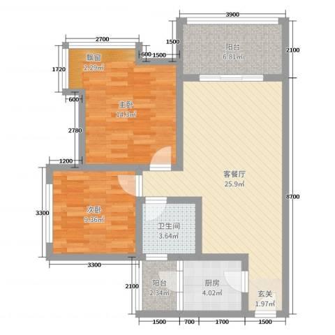 九鼎蓝波湾2室2厅1卫1厨83.00㎡户型图
