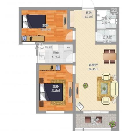 鹿城一号2室2厅1卫1厨79.00㎡户型图