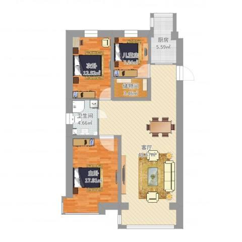 丰泽园3室1厅1卫1厨121.00㎡户型图