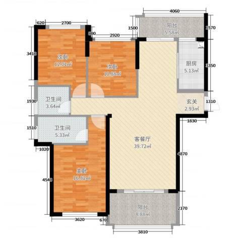 嘉福国际3室2厅2卫1厨135.00㎡户型图