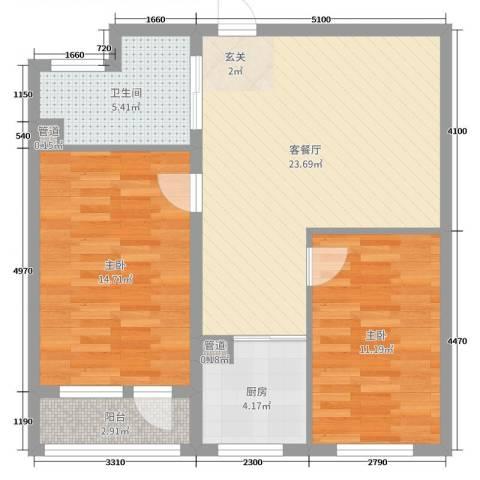 万嘉国际2室2厅1卫1厨89.00㎡户型图