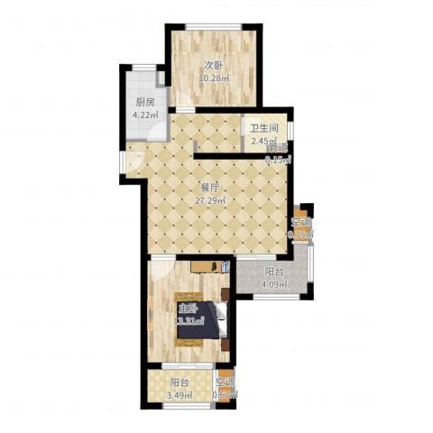 高科麓湾国际社区2室1厅1卫1厨83.00㎡户型图