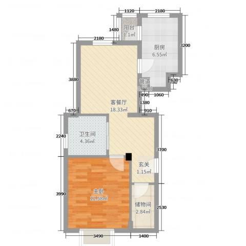 歌华中奥广场・中奥花园1室2厅1卫1厨64.00㎡户型图