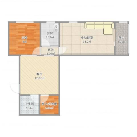 双旗杆东里1室1厅1卫1厨59.00㎡户型图
