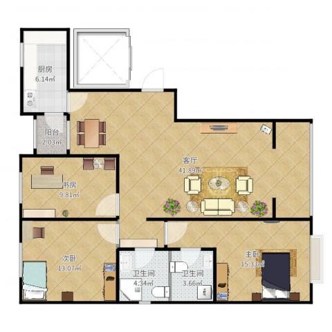 北京房山富燕新村3室1厅2卫1厨120.00㎡户型图