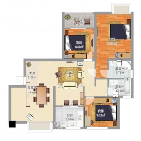 龙海明发广场3室2厅2卫1厨111.00㎡户型图