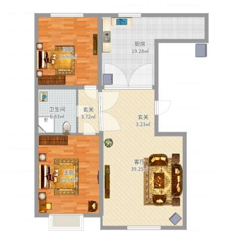 中信公园壹号2室1厅1卫1厨105.39㎡户型图