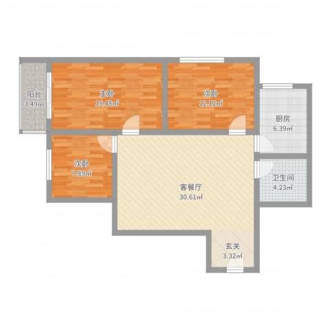 万邦迎泽苑3室2厅1卫1厨100.00㎡户型图