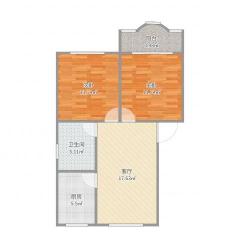 莲溪八村2室1厅1卫1厨70.00㎡户型图