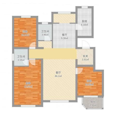 新东方冠军城E区3室1厅2卫1厨126.00㎡户型图