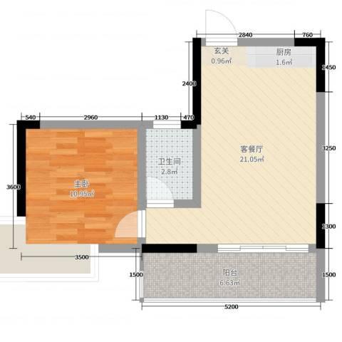 顺祥南洲1号1室2厅1卫0厨53.00㎡户型图