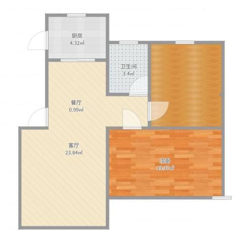 杨泰春城1室1厅1卫1厨69.00㎡户型图