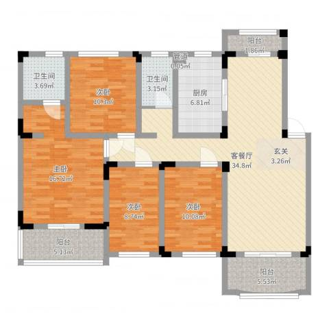 奇瑞龙湖湾4室2厅2卫1厨134.00㎡户型图