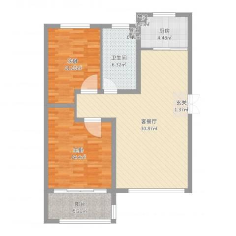 淮海・东城御景2室2厅1卫1厨91.00㎡户型图