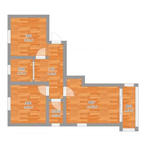 扇骨营2室1厅1卫1厨61.00㎡户型图