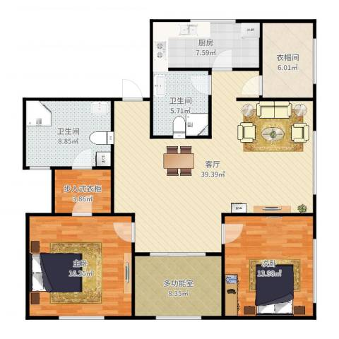 都会轩2-45042室1厅2卫1厨137.00㎡户型图