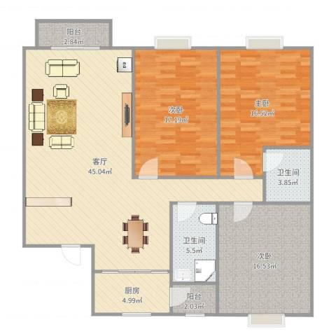 兴越小区3室1厅2卫1厨143.00㎡户型图