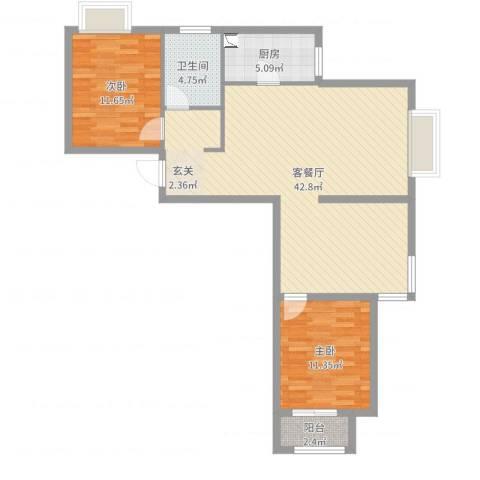 学府嘉园2室2厅1卫1厨98.00㎡户型图