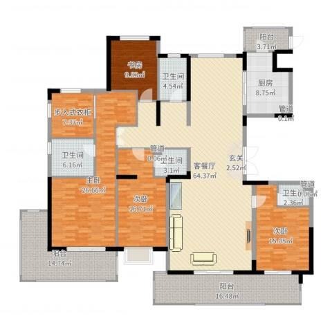 鲁能领秀城・漫山香墅4室2厅4卫1厨250.00㎡户型图