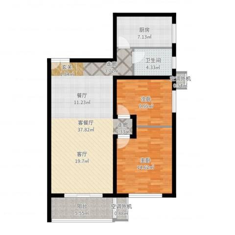 星雨心苑2室2厅1卫1厨101.00㎡户型图
