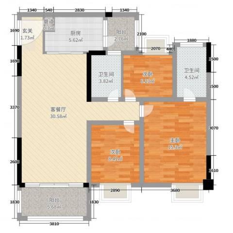 汇泰锦城3室2厅2卫1厨104.00㎡户型图