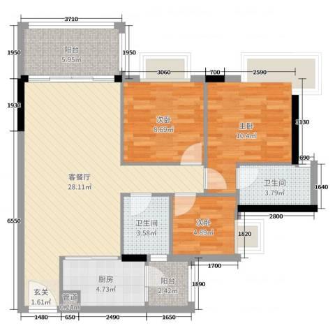 汇泰锦城3室2厅2卫1厨91.00㎡户型图