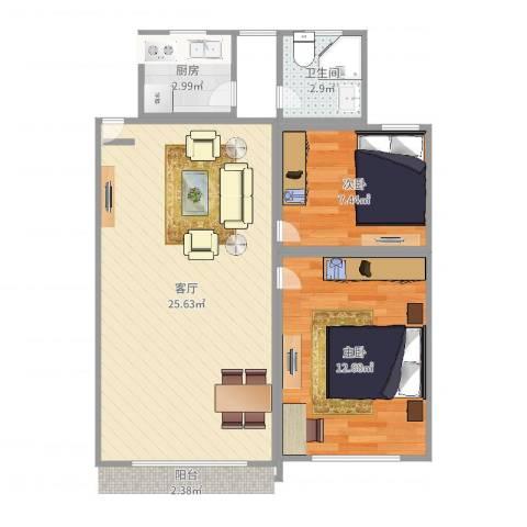 金芝苑2室1厅1卫1厨65.00㎡户型图