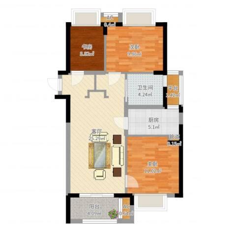 万科龙湾花园3室1厅1卫1厨85.00㎡户型图