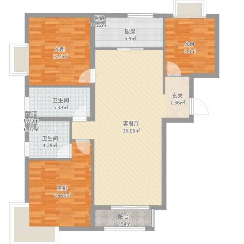 新天地二期・壹号院3室2厅2卫1厨111.00㎡户型图