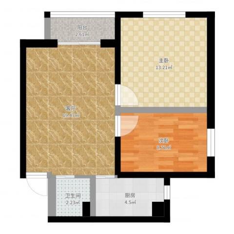 朝阳花园2室1厅1卫1厨80.00㎡户型图