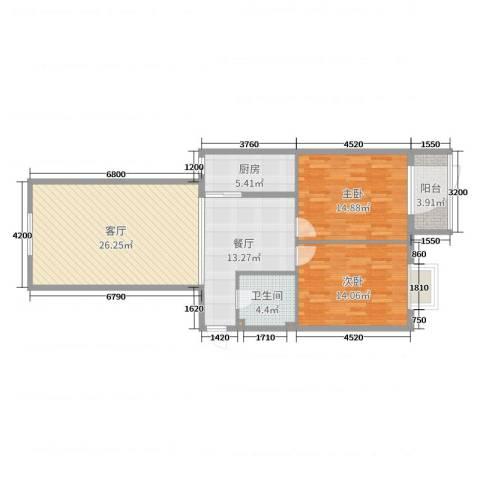 金垣置地1-1-14012室2厅1卫1厨103.00㎡户型图