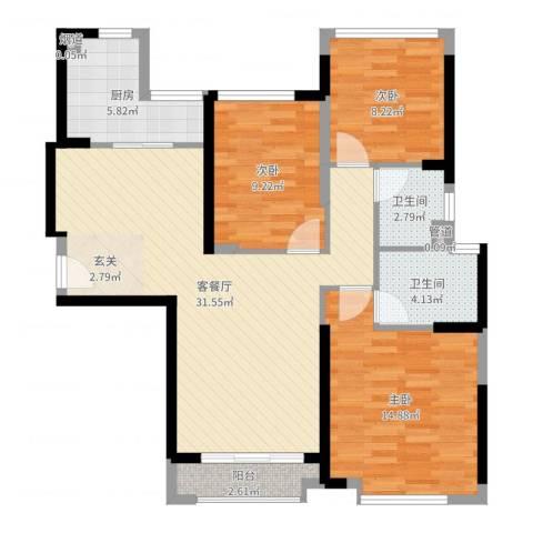 海伦堡・海伦湾3室2厅2卫1厨99.00㎡户型图