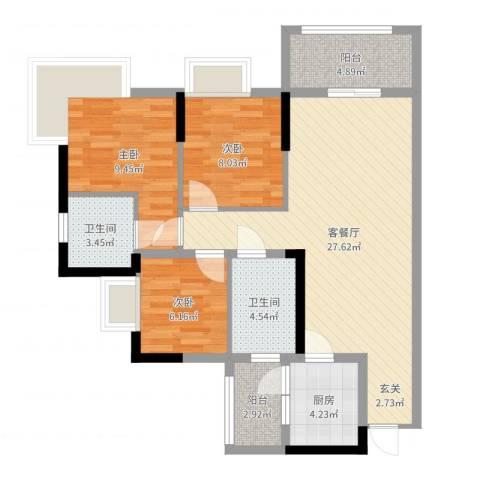 城南春天3室2厅2卫1厨89.00㎡户型图