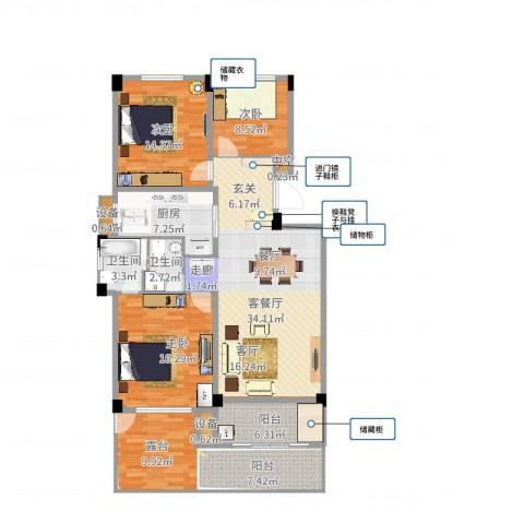 锦麟瓜渚御景园3室2厅2卫1厨118.00㎡户型图