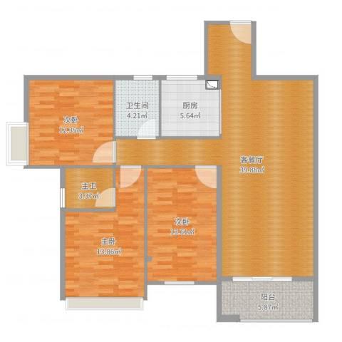 御林苑3室2厅1卫1厨123.00㎡户型图