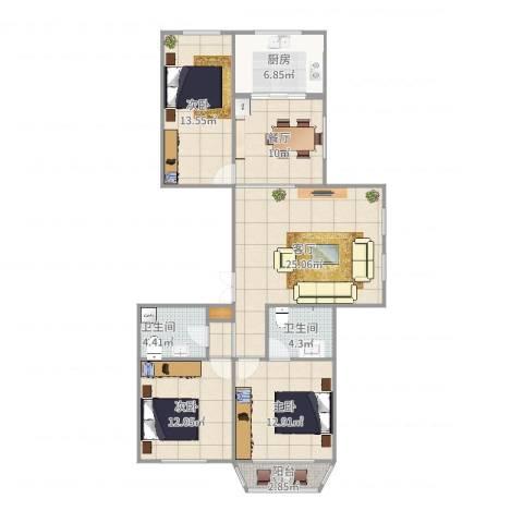 米兰花园3室2厅2卫1厨93.40㎡户型图