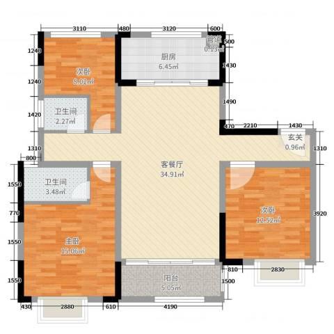 美的・公园天下3室2厅2卫1厨110.00㎡户型图