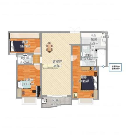 天际花园三期3室2厅2卫1厨118.00㎡户型图